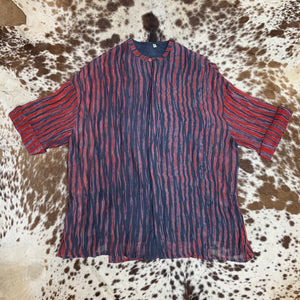 Hand-Painted Print, Cotton-Silk Shirt with Vents