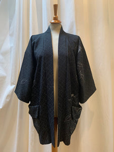 Black Vintage Silk Crepe Haori Kimono with Pockets