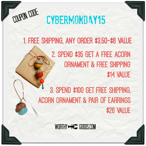 Cyber Monday deals on handmade winter hats, bow ties, ornaments, felt jewelry, advent calendars and more. Save and get free shipping with coupon code CYBERMONDAY15 Ends tonight!