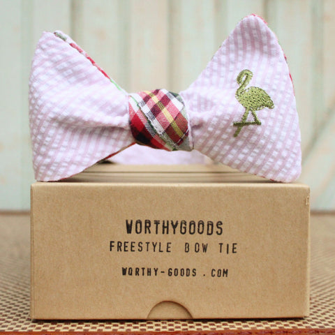 Preppy pink green bow tie in madras & seersucker with flamingo, hand tailored menswear accessories by worthygoods.