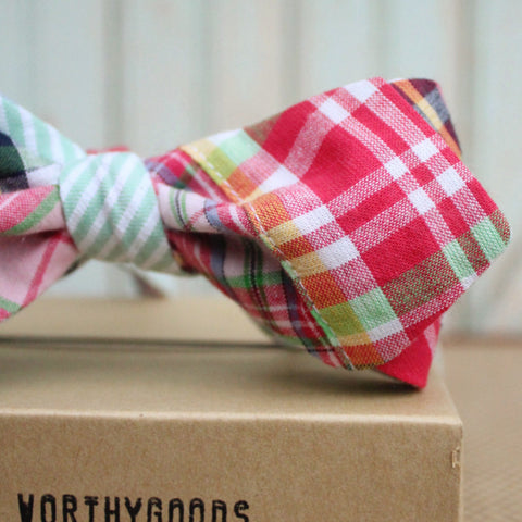 Madras seersucker reversible bow tie, self tie, freestyle, handmade and adjustable by worthygoods.