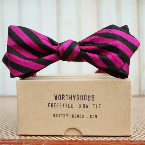 Silk bow tie in fuchsia pink black stripe, diamond point, freestyle, self tie bow tie by worthygoods.