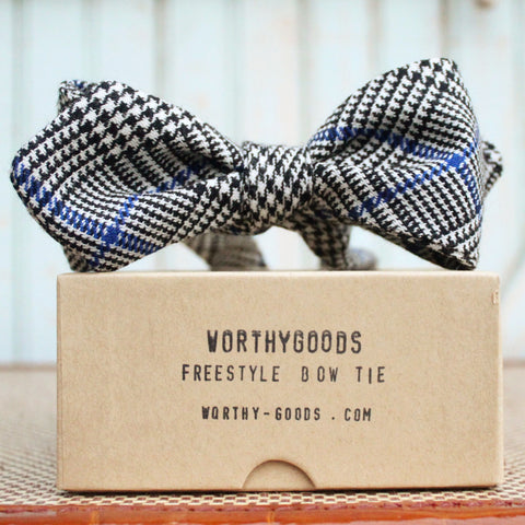 Freestyle diamond point wool tartan bow tie in black, winter white and cobalt. Classically hand tailored in Maine by worthygoods