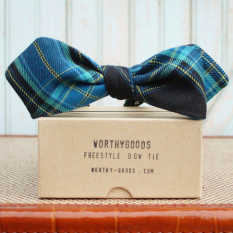 Tartan bow tie in cobalt blue wool, diamond point tips, freestyle, self-tie and adjustable at the neck, hand tailored by worthygoods.