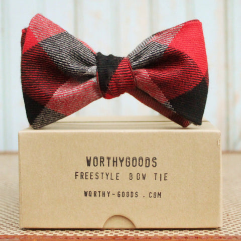 Butterfly bow tie in red black check wool flannel, handmade by worthygoods