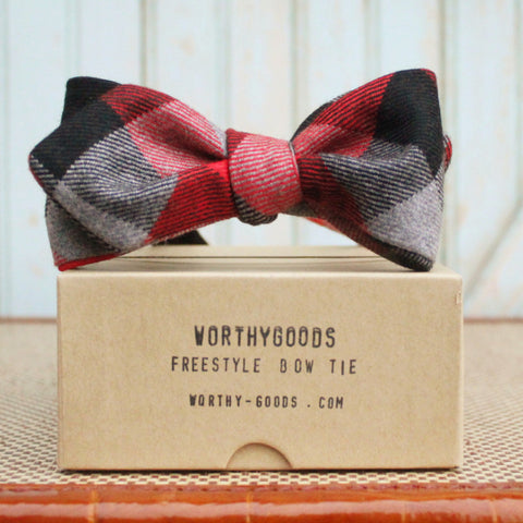 Diamond point bow tie in red black check wool flannel, handmade by worthygoods