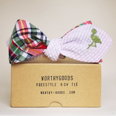 Preppiest bow tie in the world, pink green seersucker reversing to madras with an embroidered flamingo critter by worthygoods.