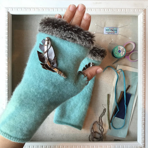Fingerless Gloves in egg blue, mint green cashmere and faux fur with hand stitched leather feather accent handmade in Maine by worthygoods
