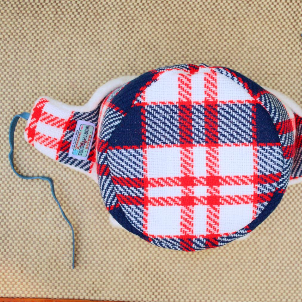 1f8c06e676d7a4 Little Trapper hat in red blue and white vintage wool, lined in organic  cotton sherpa