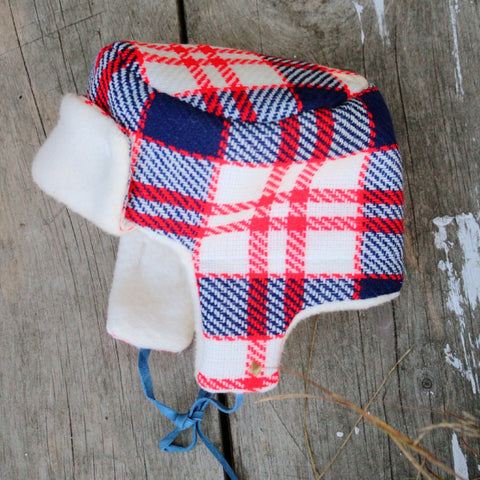 d96c562075008f ... sherpa Little Trapper baby hat in red blue and white vintage wool, lined  in organic cotton ...