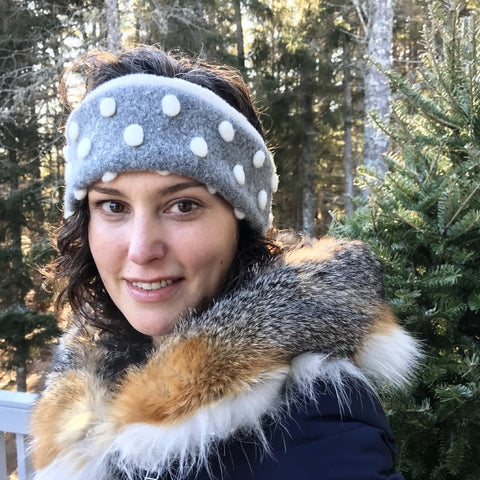 Snow Dot Headband Organic Hygge Ear Warmer Cozy Earmuff