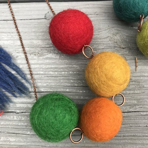 Necklace Custom Colors Gum Ball Felt Women's