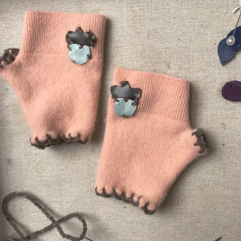 Mini Mitts fingerless gloves for big and little kids by worthygoods organic cotton velour and up cycled knit make a sustainable Maine made winter accessory