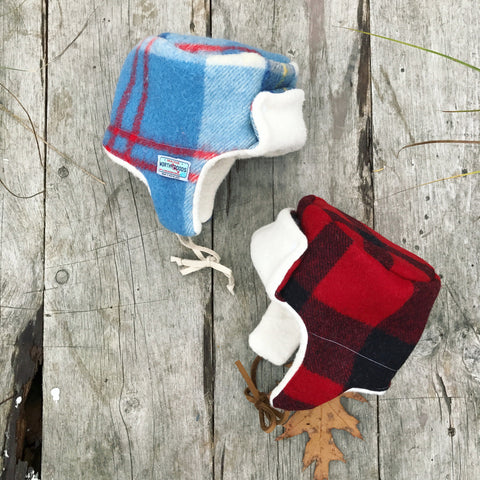 Pendleton red black check Little Trapper winter boys girls hats by worthygoods handmade in Maine, organic cotton sherpa and wool tartan