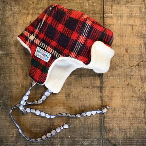 Little Trapper Hat Red Wool Tartan
