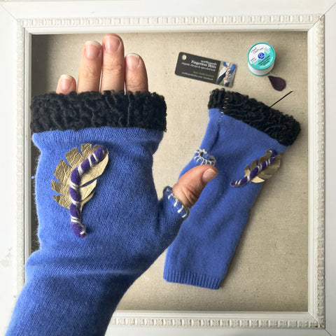 Fingerless mitts cashmere fur periwinkle blue black with golden feather handmade in Maine by worthygoods.
