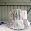 Violet patchwork Trick Sun Hat, reversible cotton summer hat for girls, handmade in Maine by worthygoods.