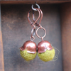 Felt bittersweet antiqued copper holiday dangle drop earrings with leaver backs by worthygoods. Hand made in Maine.