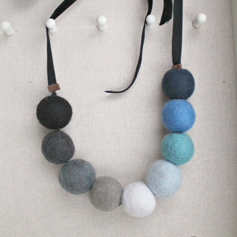 Felt and velvet wintery beaded necklace choker in neutrals by worthygoods. Handmade in Maine.
