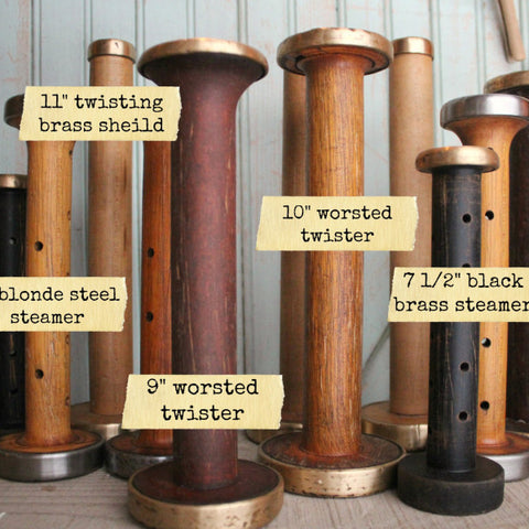Vintage wooden bobbins & spools in brown caramel and black with steel and brass caps