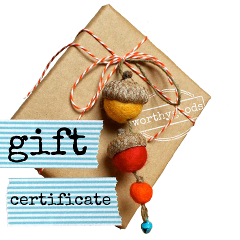 gift certificate at worthygoods made in Maine handmade hats necklaces, earrings, bracelets, acorn Christmas ornaments, you name it.
