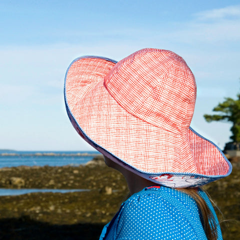 Over the Top broad brim glam sun hat to take with you on vacation! Reversible, packable broad brim, big floppy sun hat by worthygoods. Hand made in Maine.