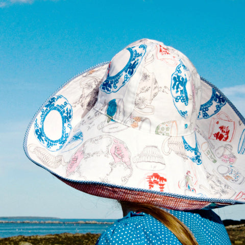 Reversible, packable, broad brim, cotton sun hat in tea party, red white blue gardening, beach hat by worthygoods. Handmade in Maine.
