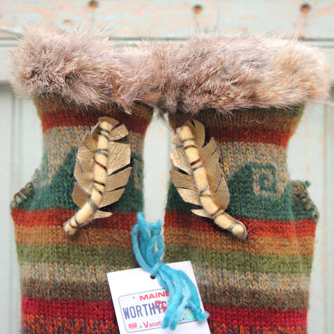 Topless Mitts by worthygoods reclaimed rabbit fur edge with golden feather accent on up cycled knit handmade in Maine by worthygoods