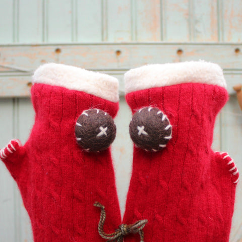 Red cashmere Topless Mitts by worthygoods rimmed with organic cotton sherpa and accented with brown felt buttons handmade in Maine