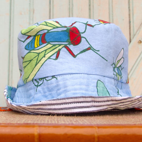 Kids shady cotton sun hat in big bug blue and seersucker by worthygoods handmade in Maine