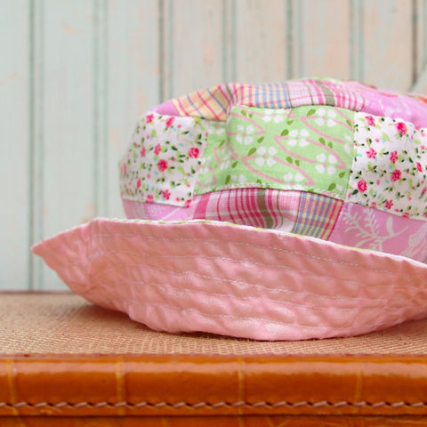 Girls sun hat pink mint cotton patchwork flamingo seersucker handmade in Maine by worthygoods.