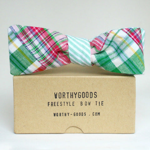 Reversible Seersucker Madras Bow Tie