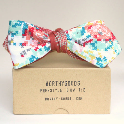 Preppy bow tie, reversible diamond point needlepoint cross stitch floral. Bespoke bow ties hand tailored in Maine by worthygoods.