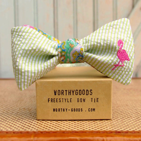 Preppy bow tie, reversible butterfly silk paisley pink and mint green to seersucker in pink and green. Bespoke bow ties hand tailored in Maine by worthygoods.