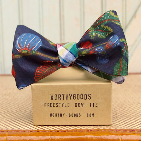 Scandinavian floral silk reversible bow tie with cotton voile madras handmade in Maine by Dory Smith Graham of worthygoods.