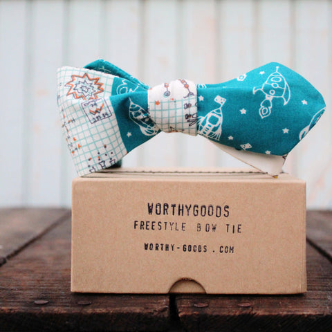 American made organic bow tie for Sci Fi Conspiracy Theorist UFO Truther handmade in Maine by worthygoods