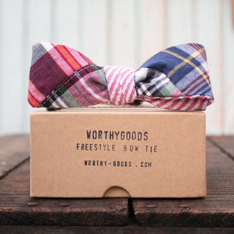 Classic freestyle bow tie in red madras reversible to seersucker, hand made in Maine by worthygoods.