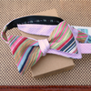 Vintage candy shop stripe bow tie in seersucker, reversible to pink check handmade by worthygoods in Maine US
