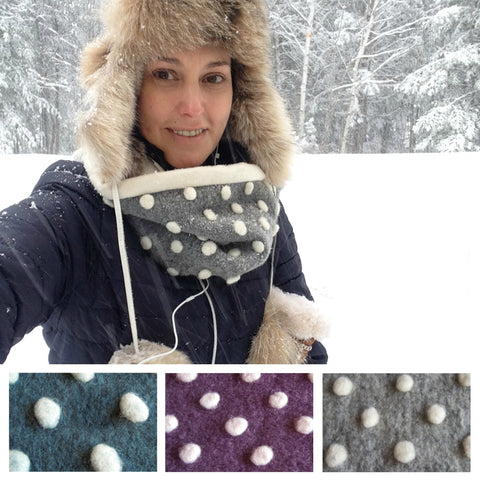 Snow Dot Cowl Organic Hygge Neck Warmer Cozy Scarf