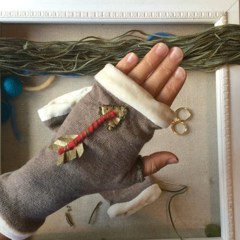 Straight Shooter Topless Mitts in fawn cashmere with organic cotton velour and gold & red arrows by worthygoods