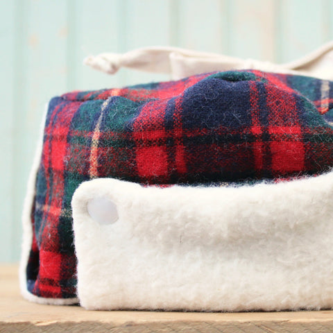 worthygoods little trapper hat Pendleton tartan wool, organic cotton US made sherpa hand made in Maine by worthygoods worthy_goods worthy goods