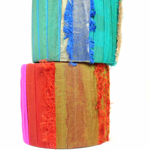 Wide and bold sari silk cuff bracelets in statement holiday hues of pine green and hot pink with gold accents. Handmade in Maine by worthygoods.