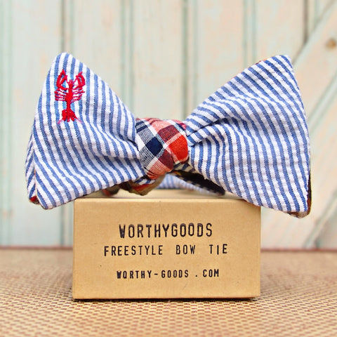 Maine Lobster bow tie in reversible seersucker and madras plaid, handmade in Maine by worthygoods