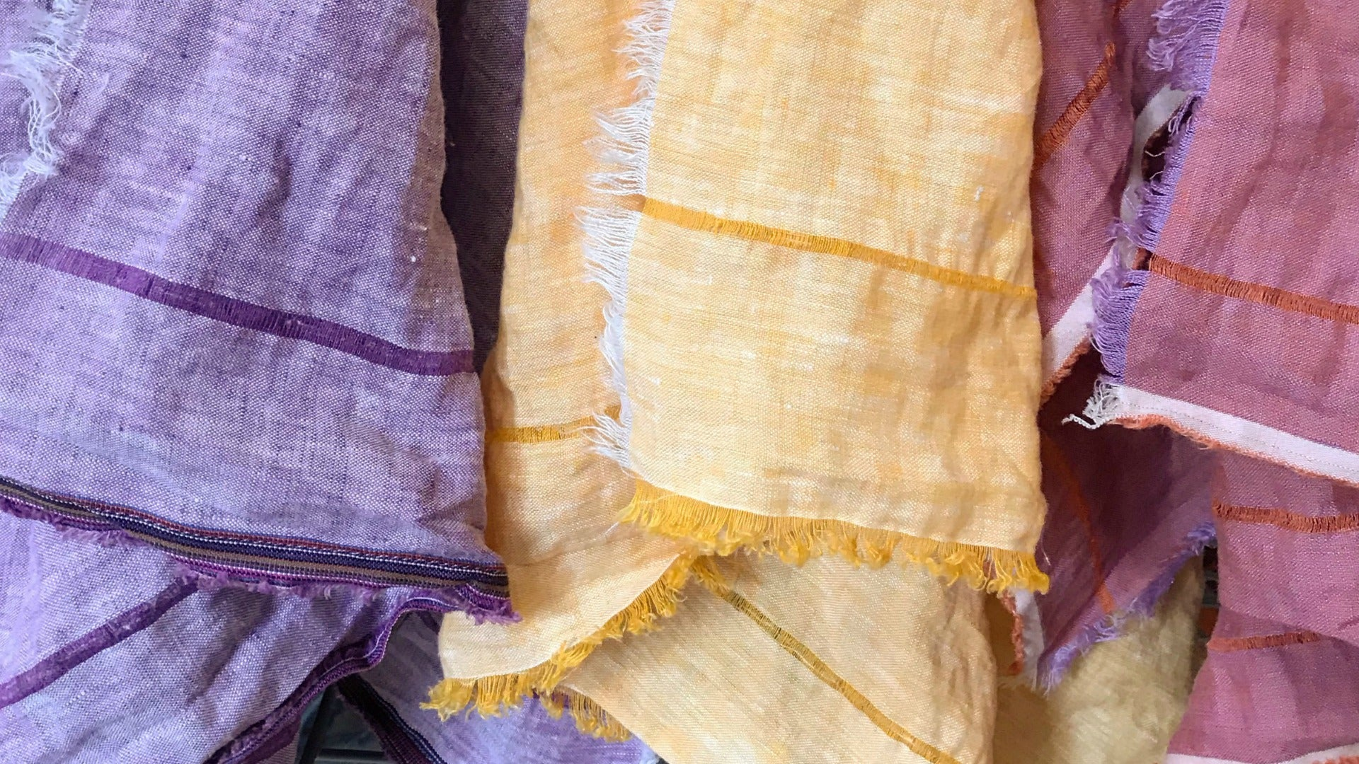 Heirloom linen oversized wrap scarves, hand threaded and fringed. Anthropologie style from Maine.