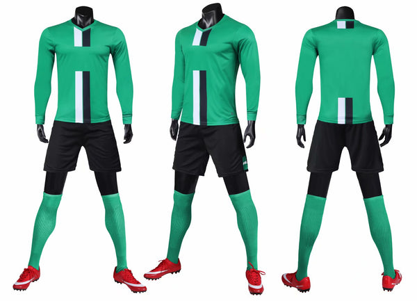LIB2001 long sleeve men soccer jerseys football uniform soccer shirts set