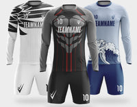Full body pattern custom design soccer jersey YB266 long sleeve suit custom quick drying breathable football shirt