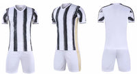 Team soccer shirt and shorts for wholesale personalized custom soccer uniform white and black stripes