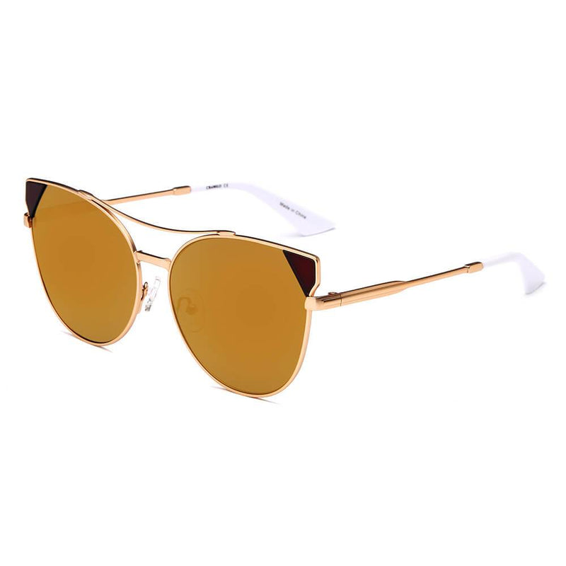 ASPEN | CA02K - Womens Trendy Mirrored Lens Cat Eye Sunglasses