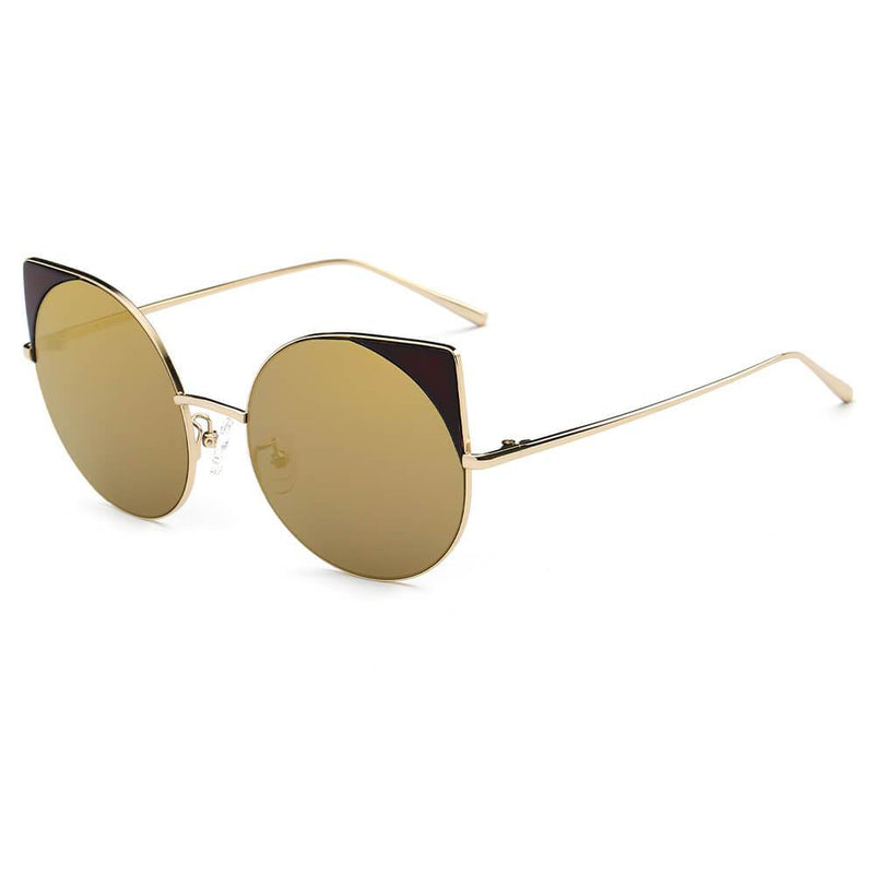 DUBLIN | CA03 - Women Mirrored Lens Round Cat Eye Sunglasses