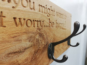 Solid Oak Engraved Coat Rack